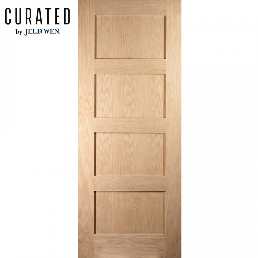 Jeld Wen White Oak Unfinished Shaker 4 Panel Sliding Barn Door