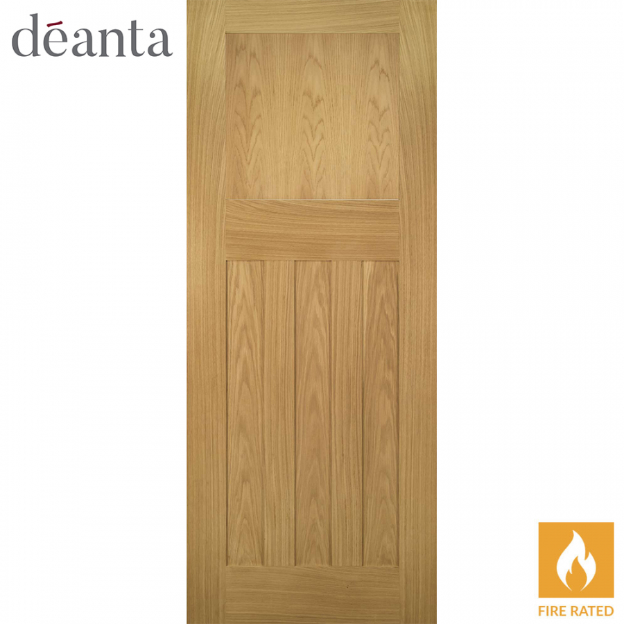 Deanta Internal Oak Cambridge Panelled Fire Door