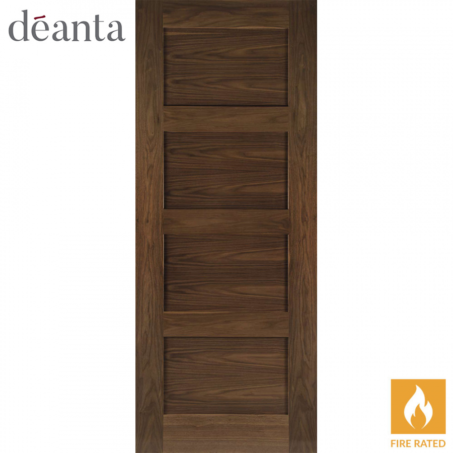 Deanta Internal Walnut Coventry Panelled Pre-Finished Fire Door