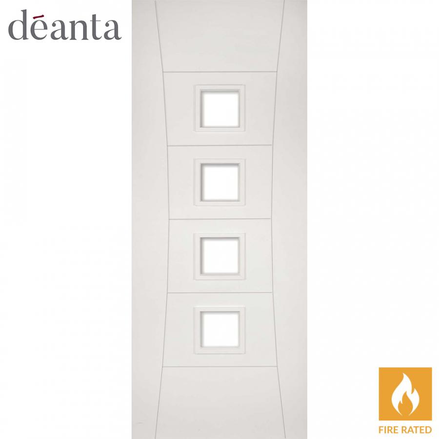 Deanta Internal White Primed Pamplona Glazed Fire Door