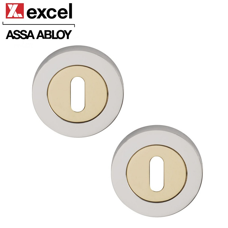Pair of Designer ORBIT Keyhole Door Escutcheons in Dual Finish