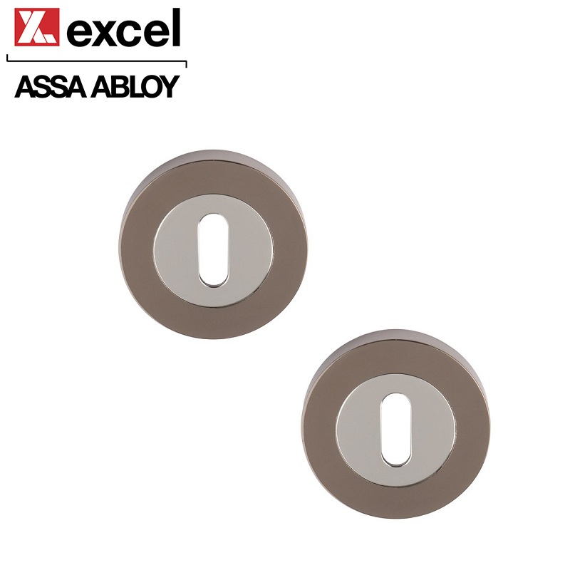 Pair of Designer ARGO/ULTIMO Dual Black Chrome Keyhole Door Escutcheons
