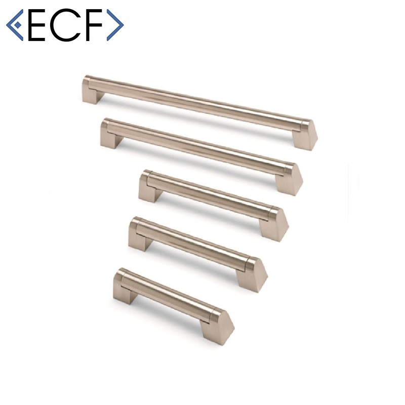ANGLED BOSS BAR Brushed Nickel Cupboard Door Pull Handle