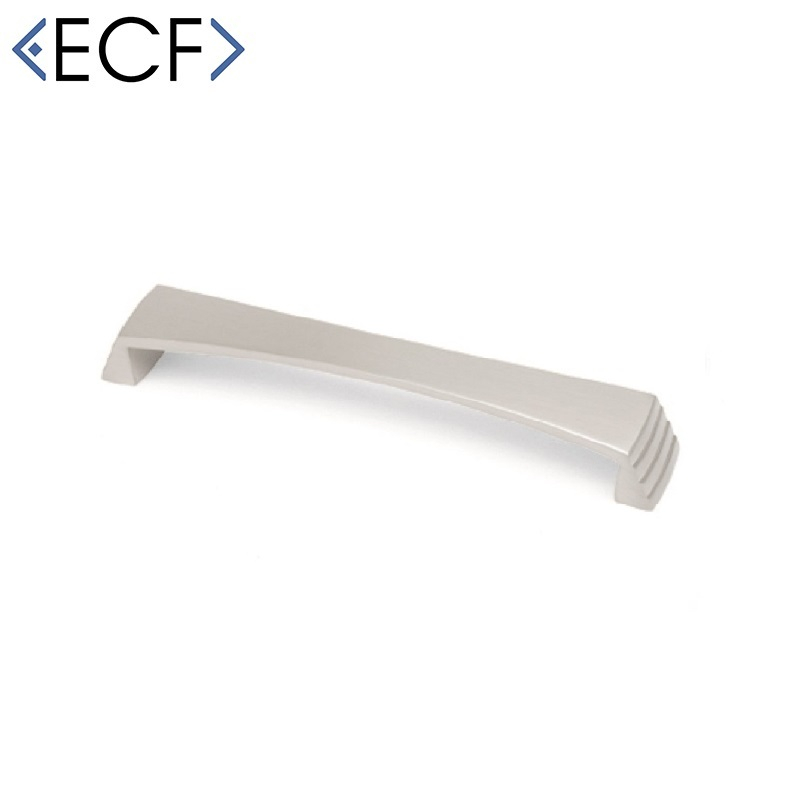 STEPPED Cupboard Door Pull Handle in Brushed Nickel 160mm