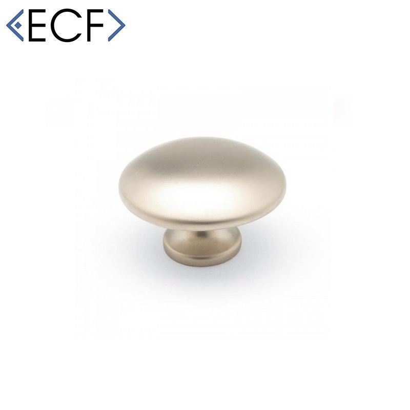 MUSHROOM ROUND Satin Nickel Cupboard Door and Drawer Knob