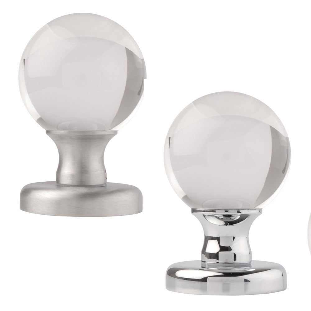 Frosted Round Crystal Knobset Passage or Privacy