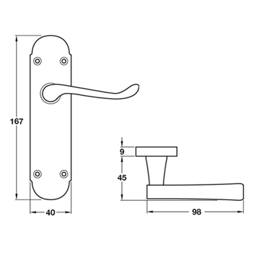 H?§fele DOME CLASSIC Shaped Scroll Lever on Back Plate Door Handle Pair (Bathroom) (Satin Nickel)