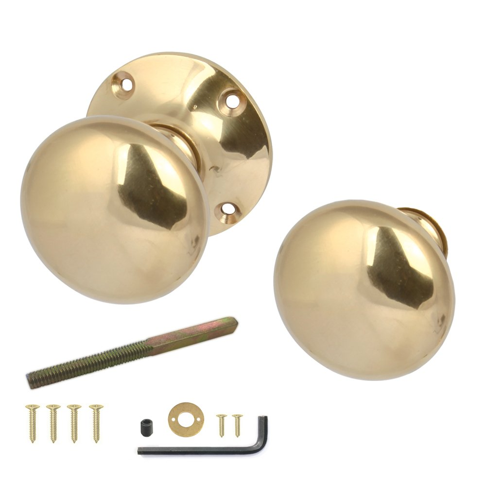 H?§fele Rim Door Knobs Pair Polished (Brass)