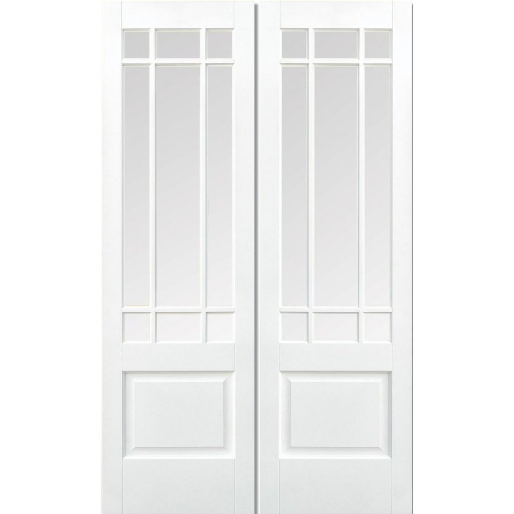 LPD Internal White Primed DOWNHAM Clear Bevelled Glazed Rebated Door Pair