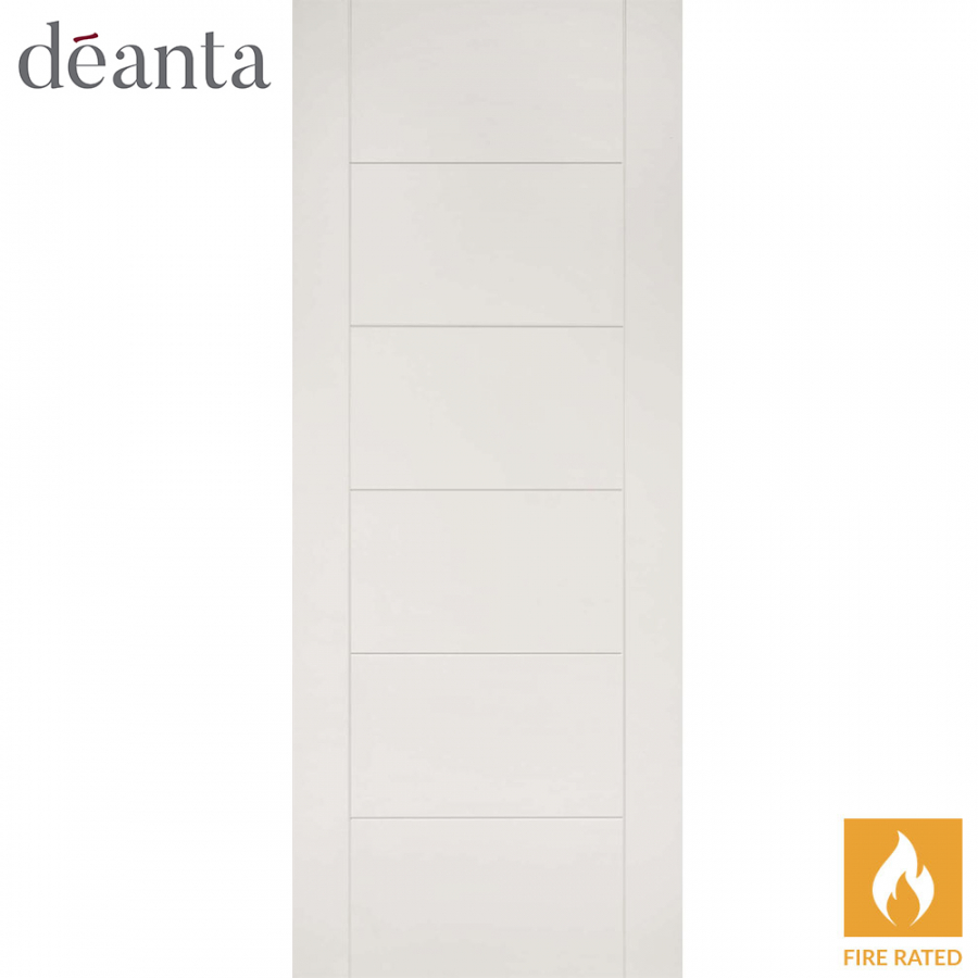 Deanta Internal White Primed Seville Flush Fire Door