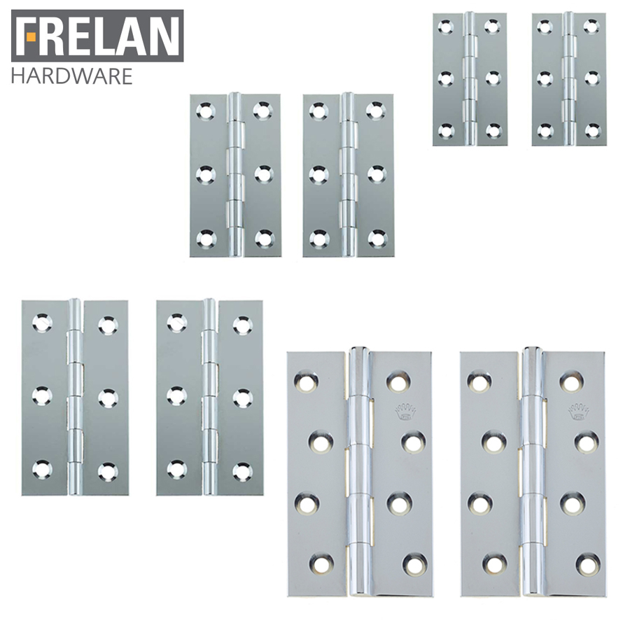 Frelan Hardware Pair of Polished Chrome on Brass Door Hinges