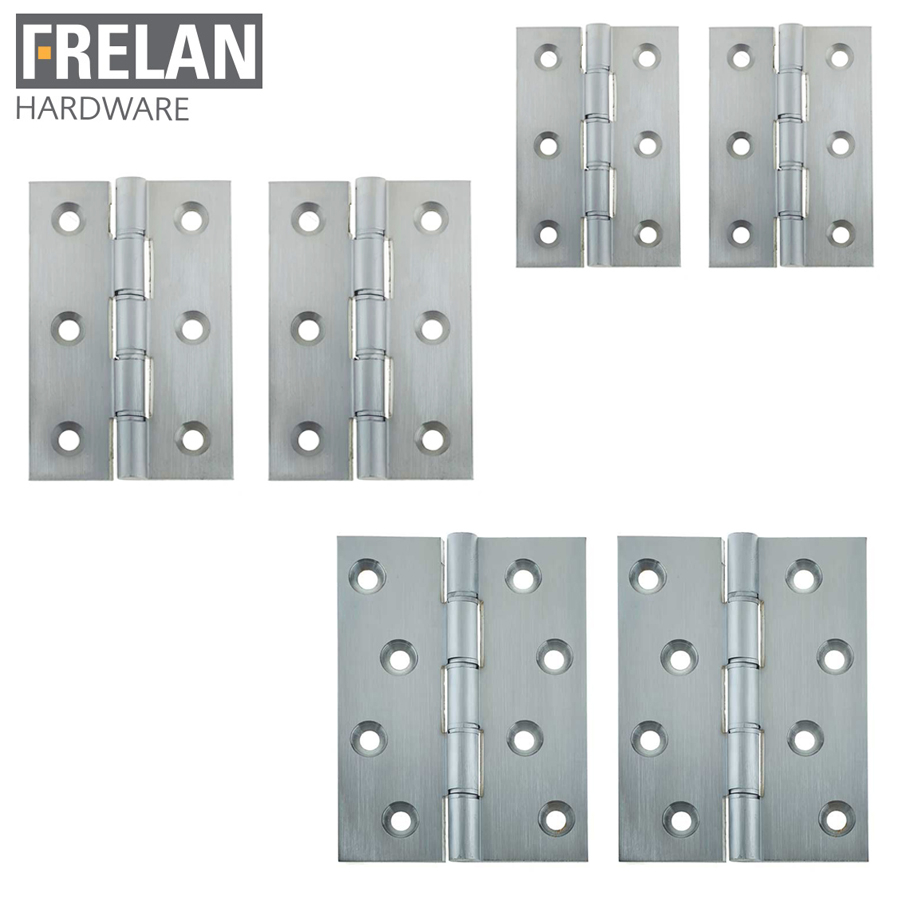 Frelan Hardware Pair of Satin Chrome Phosphor Bronze Washered Hinges