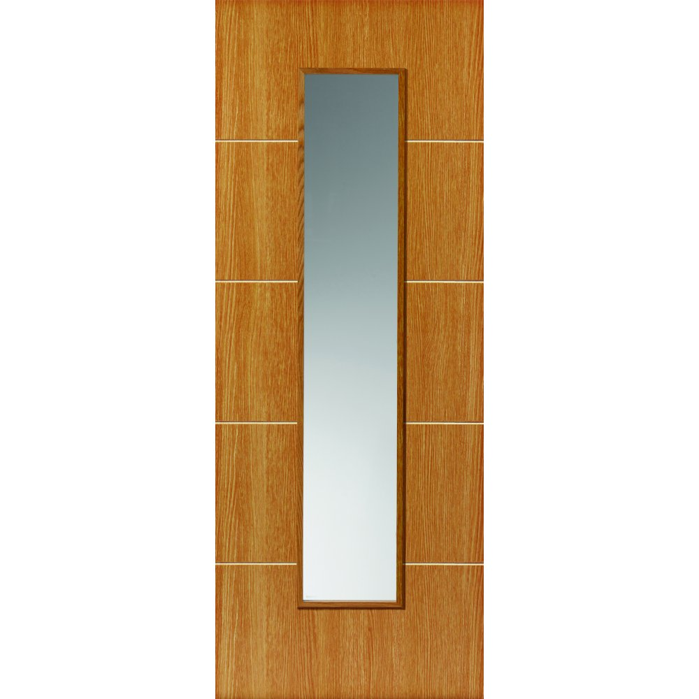 JB Kind Internal LOUVRE Painted Oak Effect 1 Light Clear Pre-finished Glazed Door