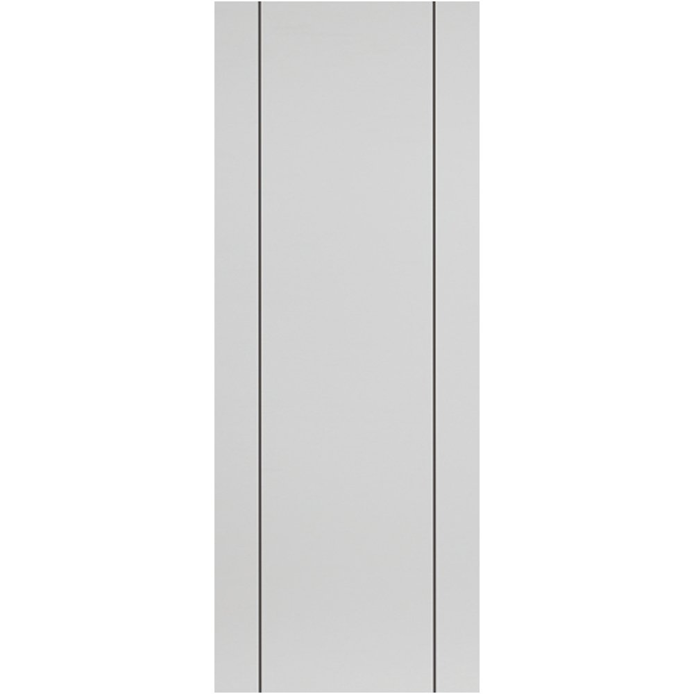 Internal PARELO Pre-Finished White Painted Vertical Grooved Flush Door