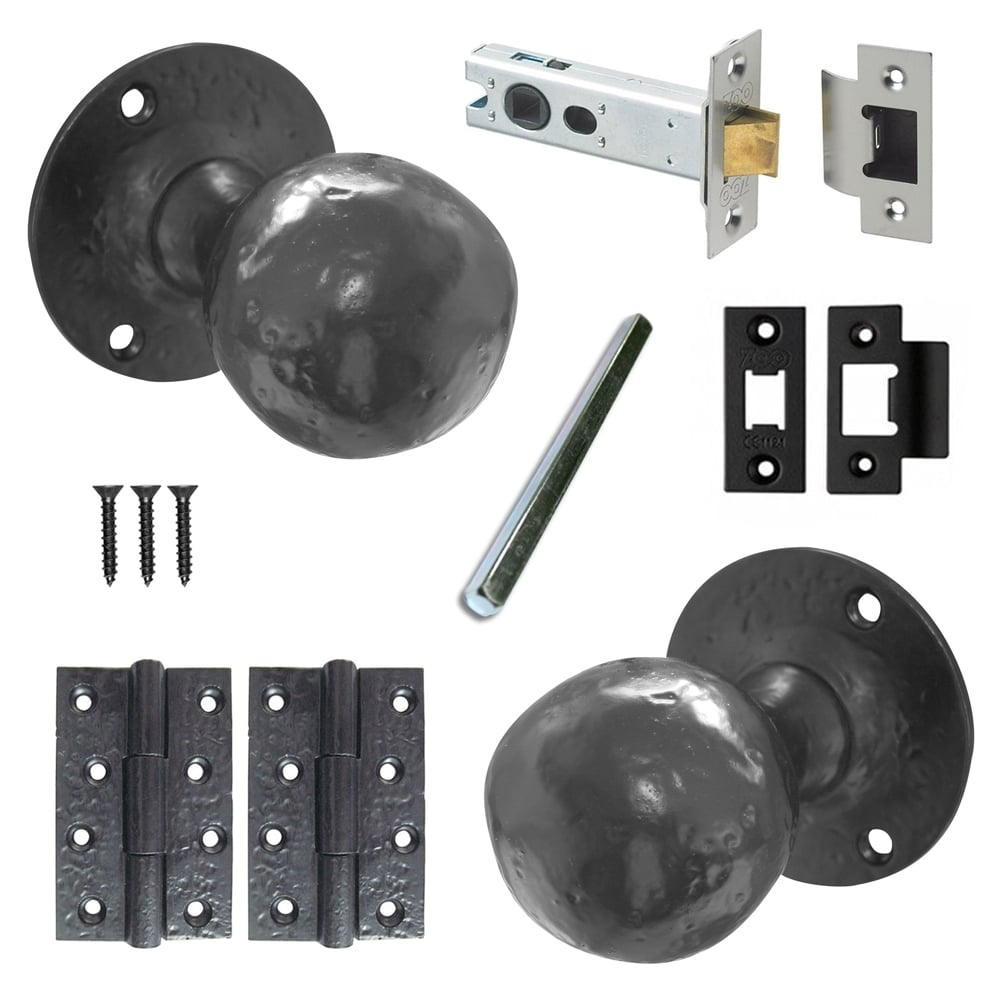 Black Iron Ball Shaped Mortice Door Knob Pack