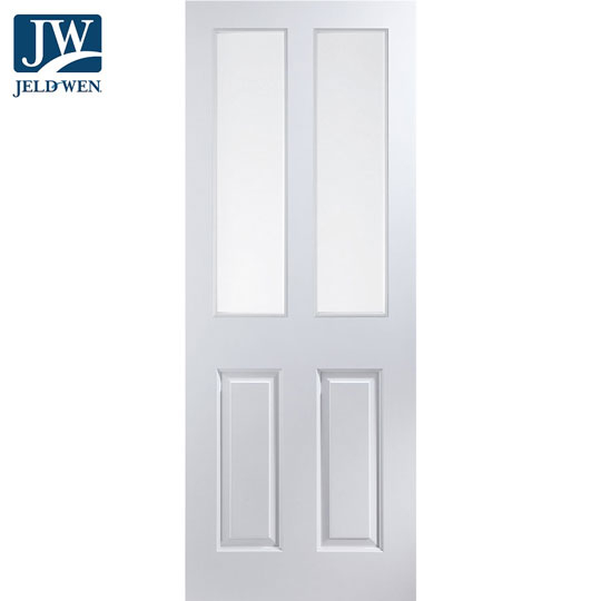 Jeld Wen Atherton White Primed 2 Clear Glazed Panelled Interior Door