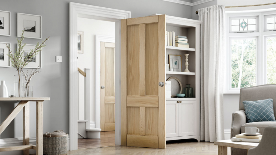 Jeld Wen Curated Oak Interior 4 Panel Door Door Superstore