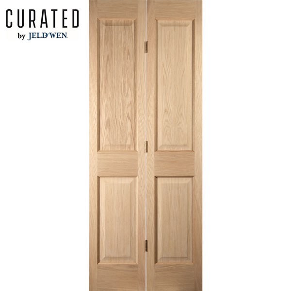 Jeld Wen Curated Oak Interior Oregon 4 Panel Bi Fold Door