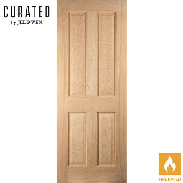 Jeld Wen Curated Oregon White Oak 4 Panelled 35mm Interior Fire Door