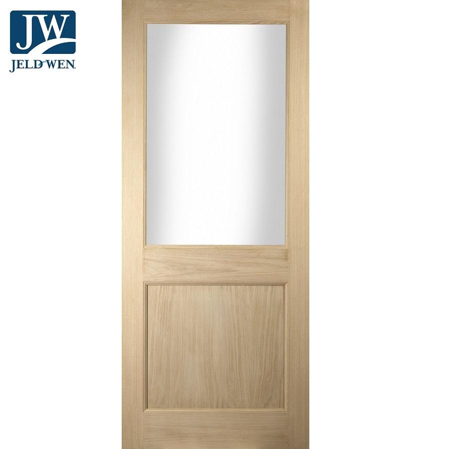 Jeld Wen Curated External Oak Oregon 2 Panel Glazed Door Door