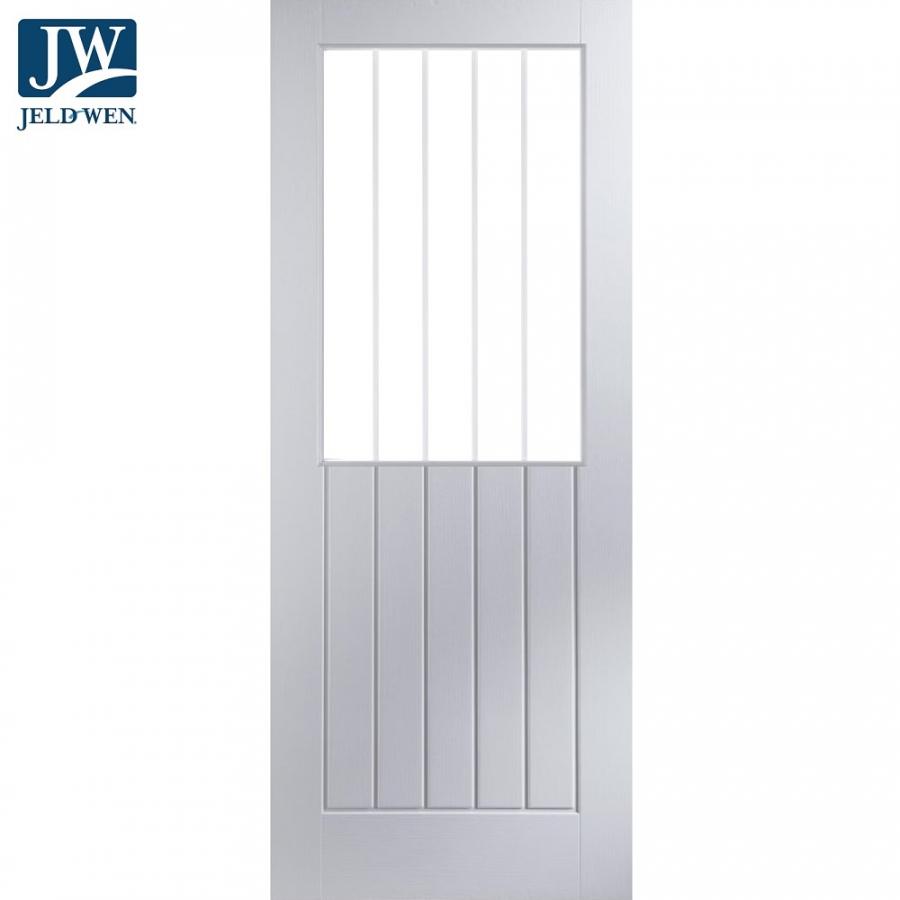 Jeld Wen Newark White Primed Vertical Etch Glazed Interior Door