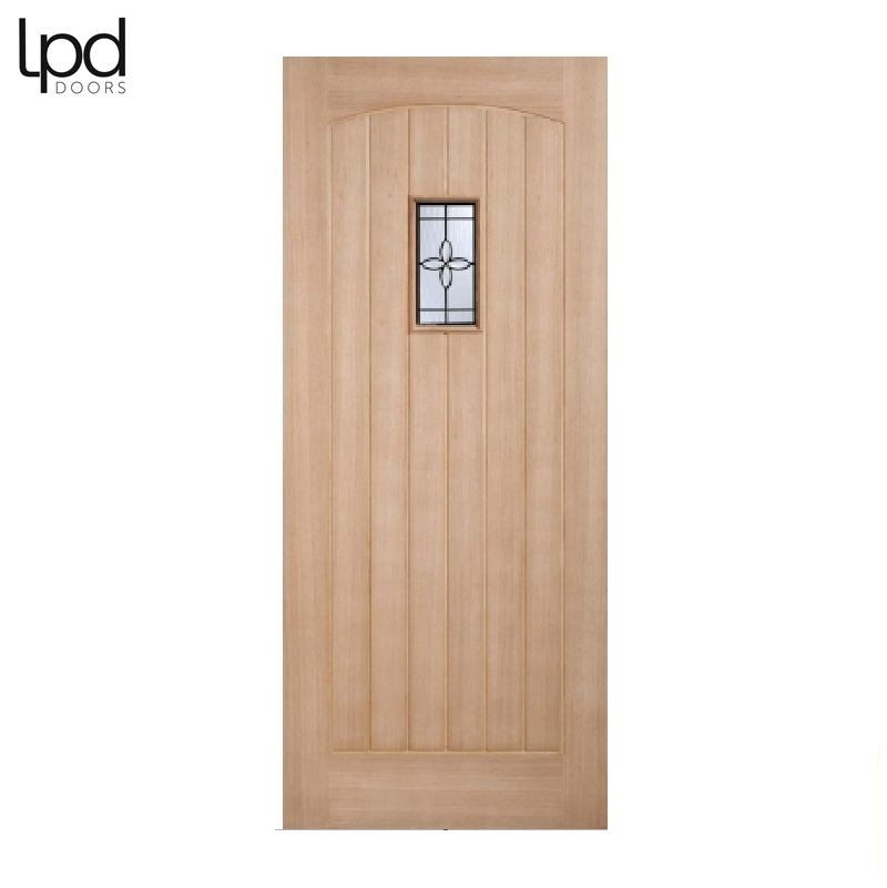 External Oak CHESHAM Warmer Part L Part Obscure Double Glazed Door D&G