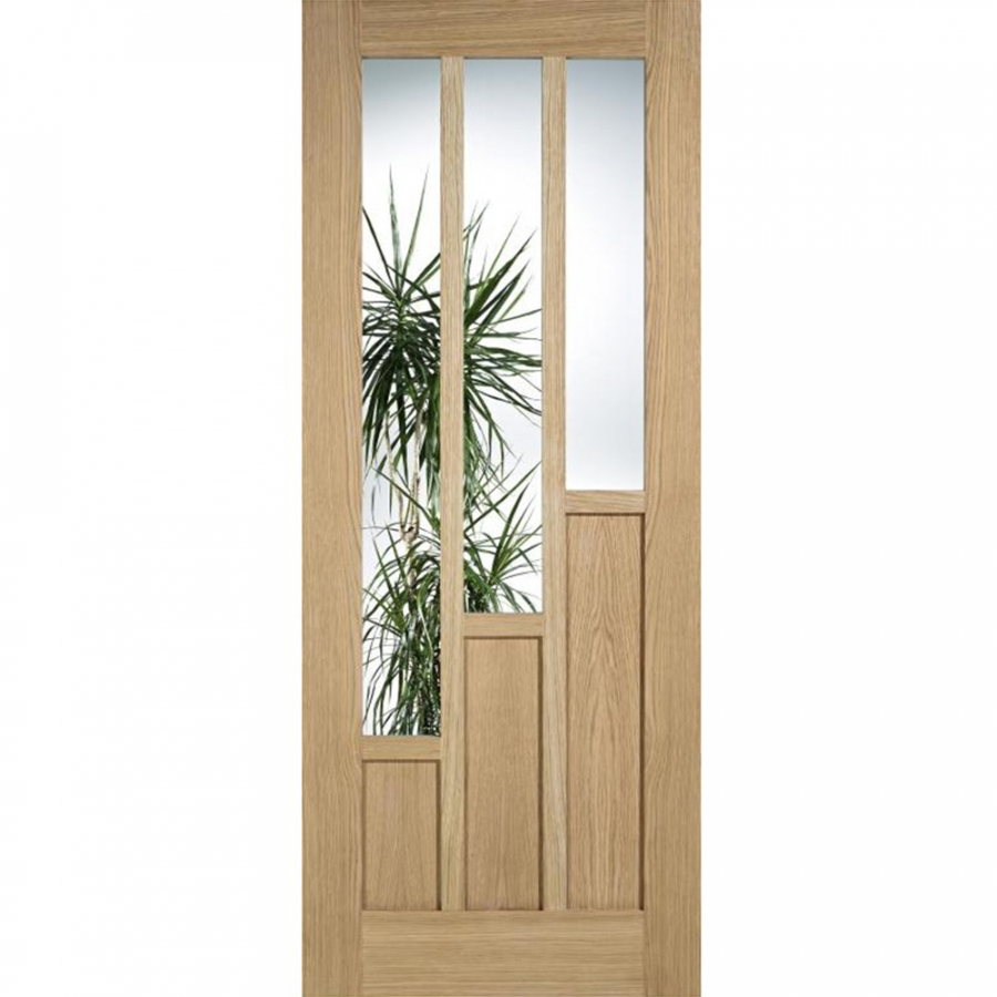Internal Oak Coventry Contemporary 3 Light Clear Glazed Door