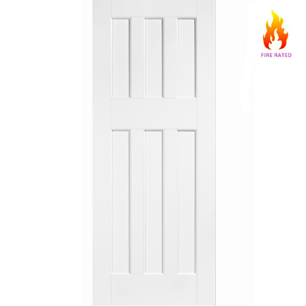 Internal White Primed DX 1960s Style 6 Panel Fire Door FD30