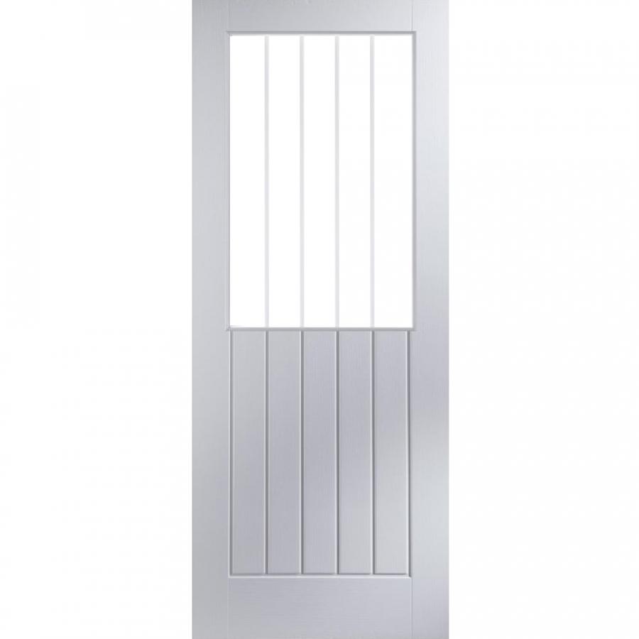 JELD-WEN Newark White Primed Interior Vertical Etch Glazed Door