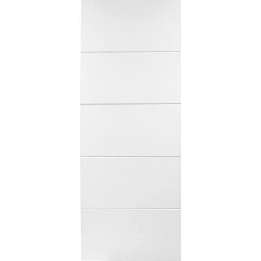 Internal White Primed HORIZONTAL 4 LINE Moulded Smooth Door