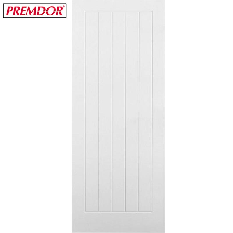 Internal White Primed Vertical 5 Panel Moulded Textured Door Door