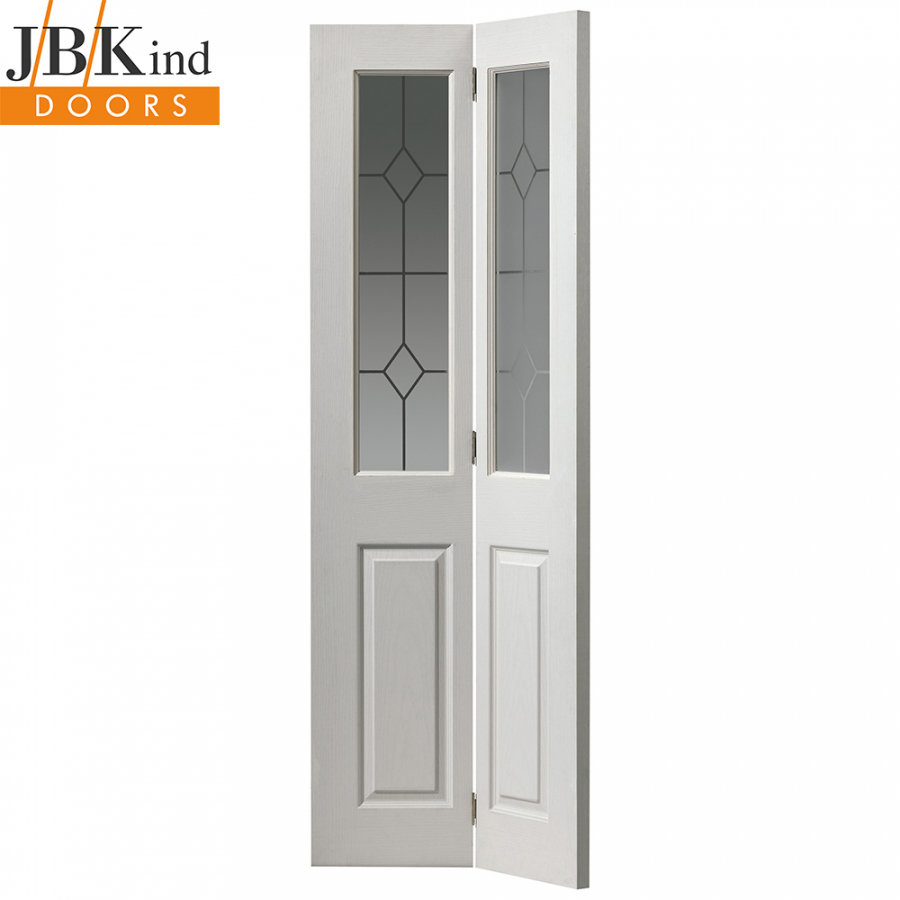 Internal White Primed Canterbury Moulded Etched Glazed Bi-Fold Door