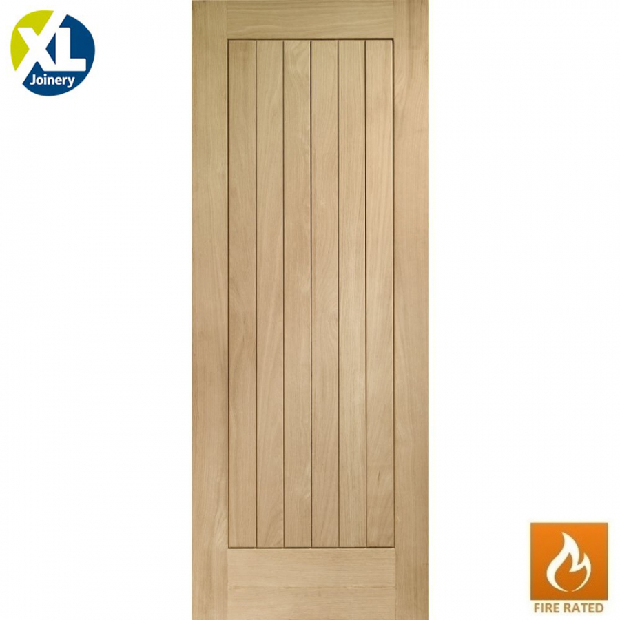 Internal Oak Suffolk Vertical Grooved Flush Fire Door FD30