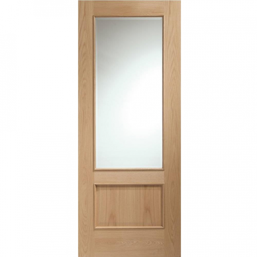 XL Joinery Internal Oak Andria 1L Clear Bevelled Glazed Door with Raised Mouldings