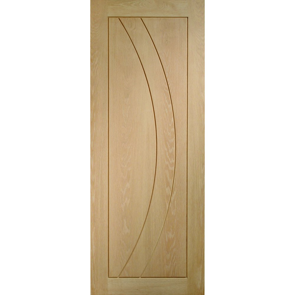 Internal Oak Salerno Contemporary Grooved Flush Door