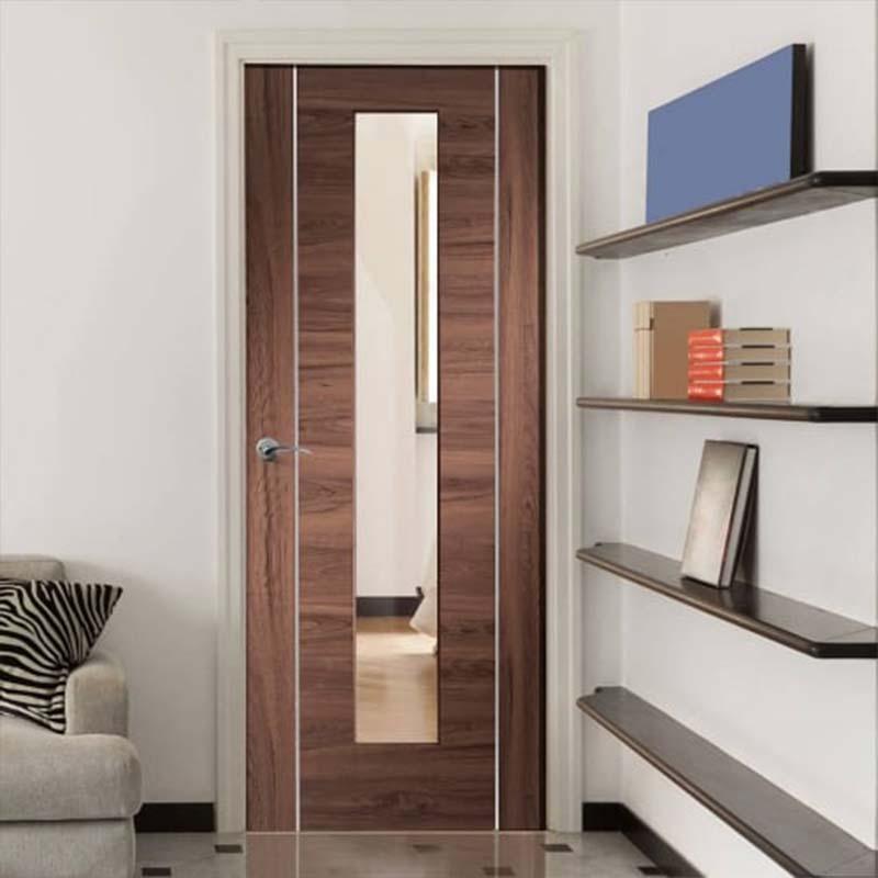 Internal Walnut Forli Pre Finished Clear Glazed Door Door Superstore