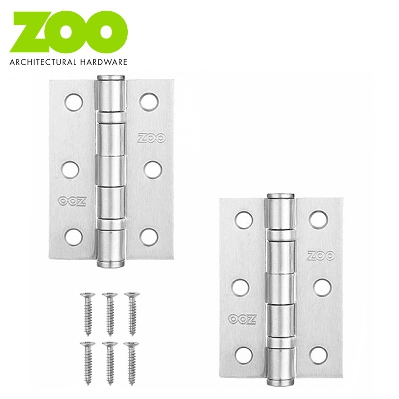 "Pair of Ball Bearing Steel Butt Door Hinges 3"" x 2"" (2mm Thick)"