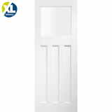 Internal White Primed DX 1930s Edwardian Style 4 Panel Obscure Glazed Door
