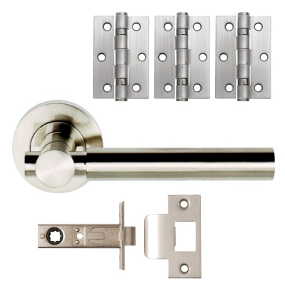 ASTRAL Satin Nickel Internal Lever on Rose Door Handle Pack