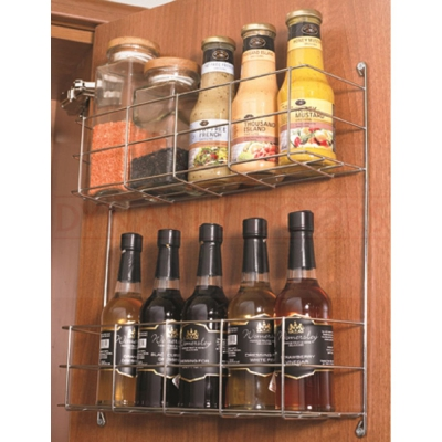 Chrome Two Tier Kitchen Cupboard Door Storage Rack