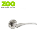 CURVED Grade 201 Stainless Steel Fire Rated Lever on Rose Door Handle Pair