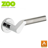 Designer Zinc VENUS Internal Lever on Rose Fire Rated Door Handle Pair