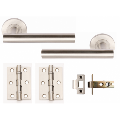 Excel DOOR HANDLES PACK T Bar Handle Lever on Rose PAIR Dual CHROME Hinges Latch