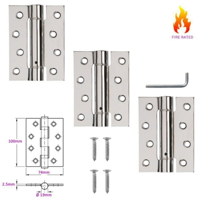 3 x Adjustable Single Action Self Closing Fire Door Hinges (2.5mm Thick)