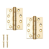 "Excel Pair of Grade 13 Fire Rated Ball Bearing Door Hinges 4"" x 3"" (3mm Thick) Electro Brass"