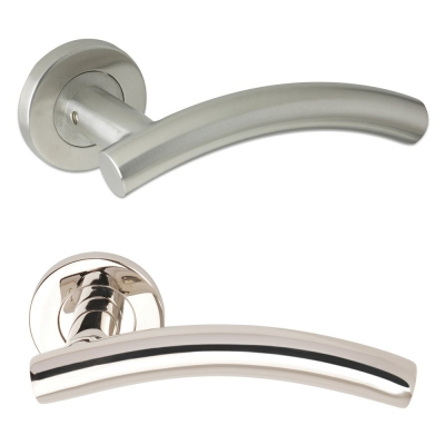 Excel ARCHED T BAR Internal Door Handle Pair Lever on Rose in Satin Stainless Steel