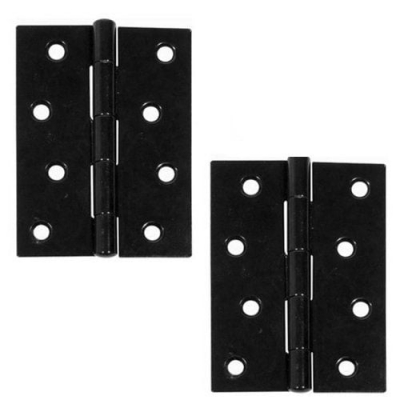 Excel Pair of Black Coated Butt Door Hinges (2mm Thick)