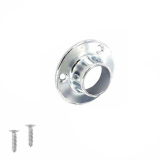 Excel Polished Chrome Wardrobe Round Rail Tube End Socket 25mm