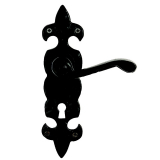 Excel Premier Black Iron Fleur De Lys Lever on Plate Door Handle Pair