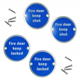 Screw on Fire Door Keep Locked / Shut Sign